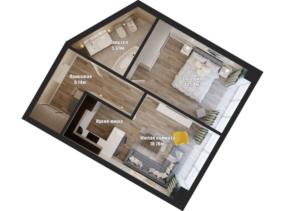 Планування 1-кімнатної квартири в ЖК Bartolomeo Resort Town 50.44 м², фото 148555