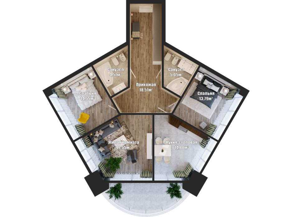 Планировка 3-комнатной квартиры в ЖК Bartolomeo Resort Town 94.08 м², фото 148557