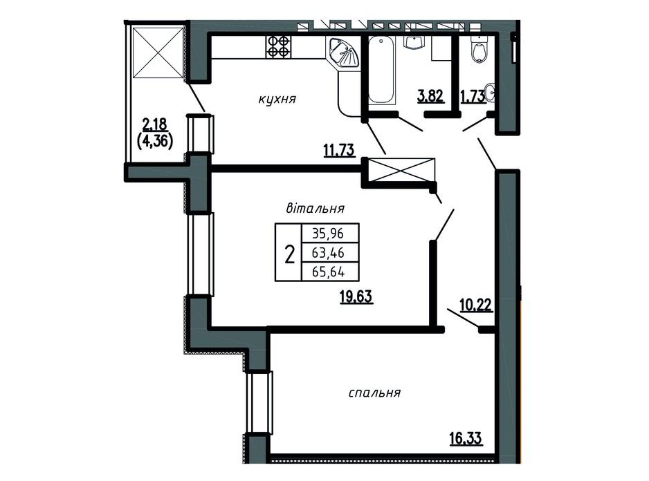 Планировка 2-комнатной квартиры в ЖК Комфорт Лайф 65.64 м², фото 148812