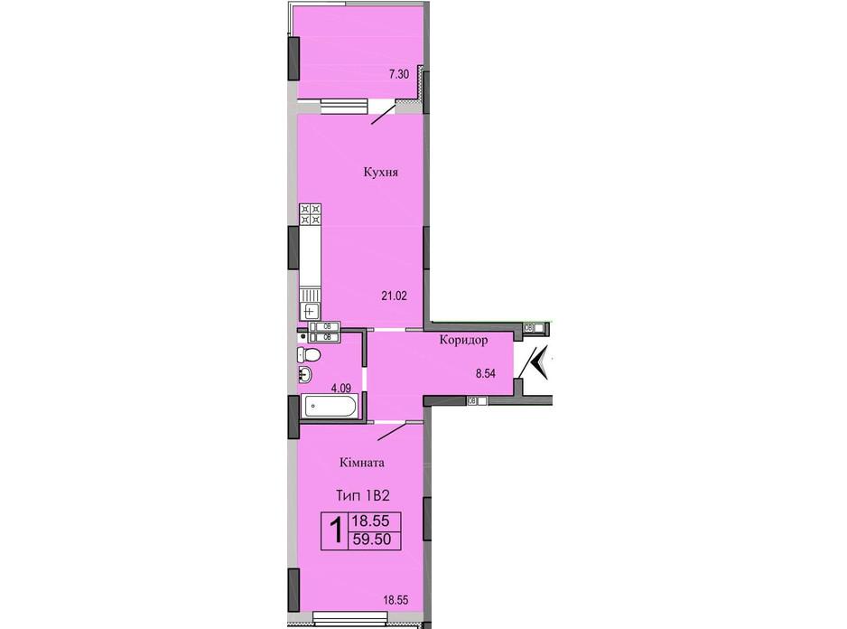Планировка 1-комнатной квартиры в ЖК River House 59.5 м², фото 148845