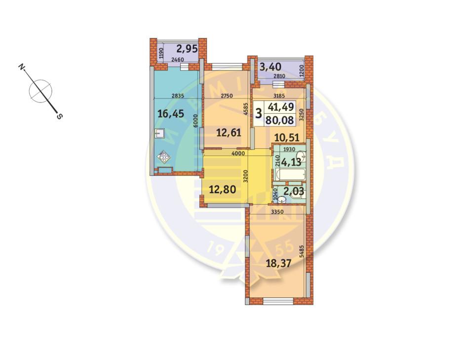 Планування 3-кімнатної квартири в ЖК «Медовий» 80.08 м², фото 151078
