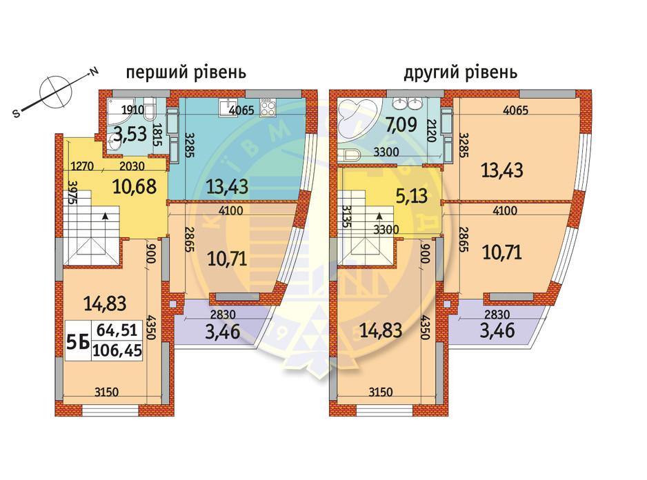 Планування 5-кімнатної квартири в ЖК Райдужний 106.45 м², фото 151089