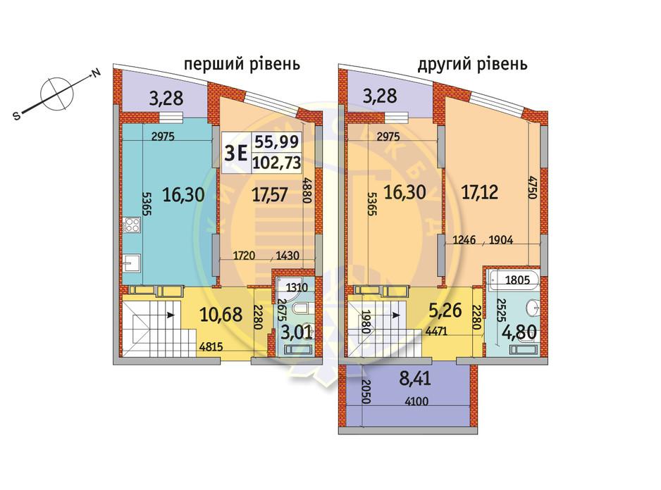 Планування 3-кімнатної квартири в ЖК Райдужний 102.73 м², фото 151090