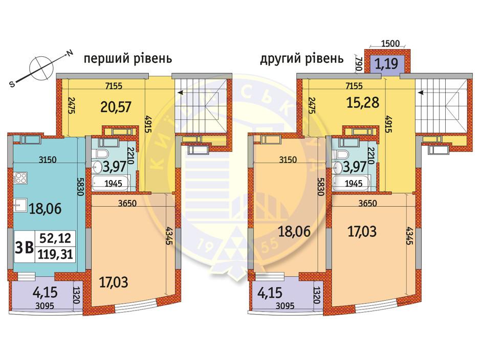 Планування 3-кімнатної квартири в ЖК Райдужний 119.31 м², фото 151091