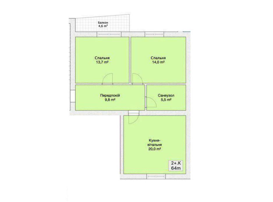 Планировка 2-комнатной квартиры в ЖК Княжий 64 м², фото 152218