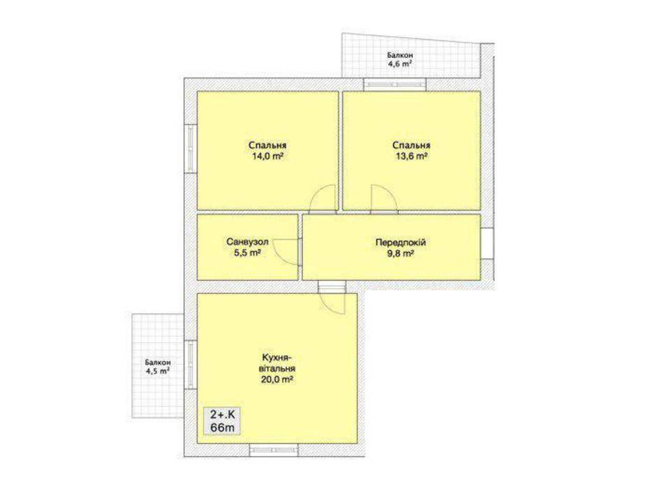 Планировка 2-комнатной квартиры в ЖК Княжий 66 м², фото 152219