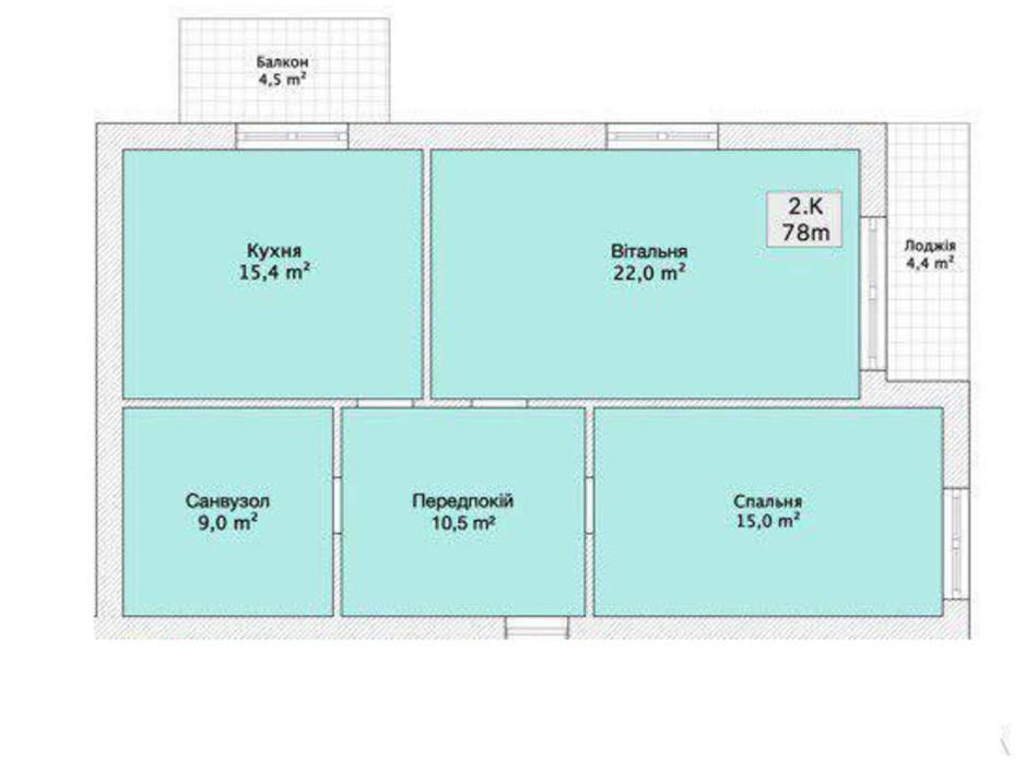 Планировка 2-комнатной квартиры в ЖК Княжий 78 м², фото 152220