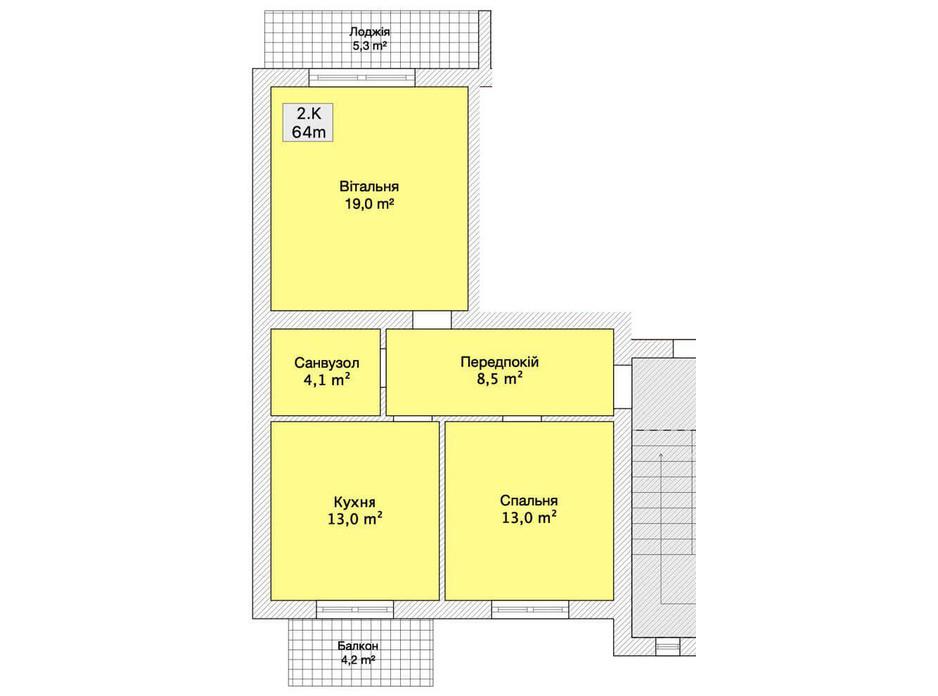 Планування 2-кімнатної квартири в Таунхаус вул. Лялі Ратушної 64 м², фото 152245