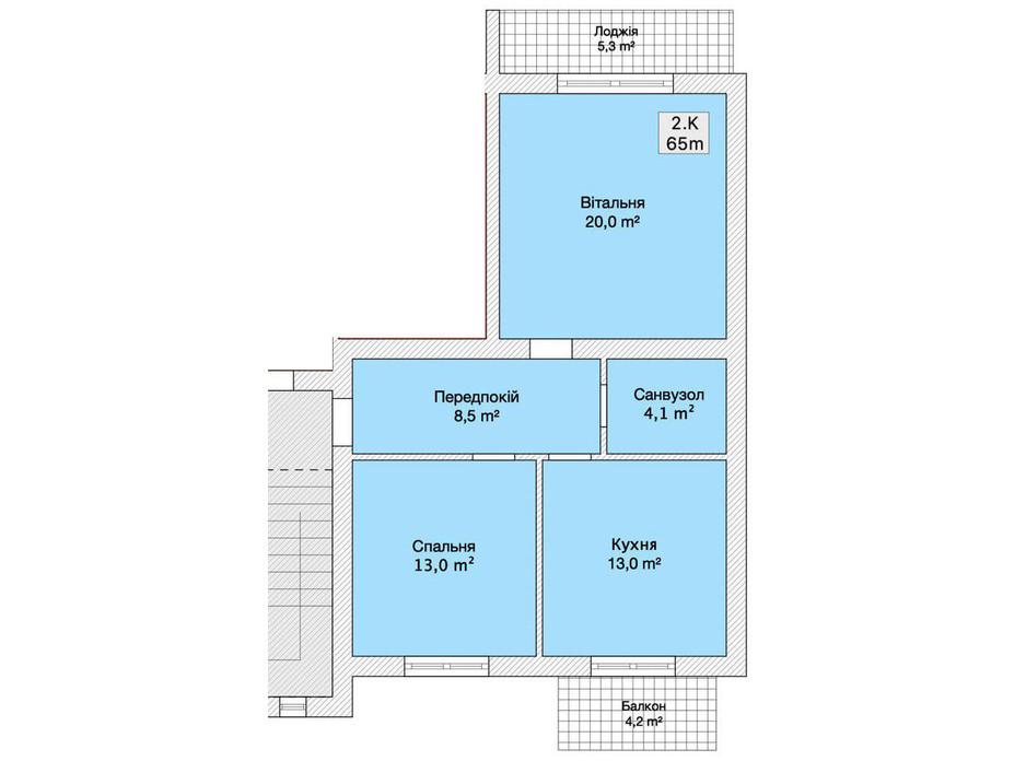 Планировка 2-комнатной квартиры в Таунхаус ул. Ляли Ратушной 65 м², фото 152246