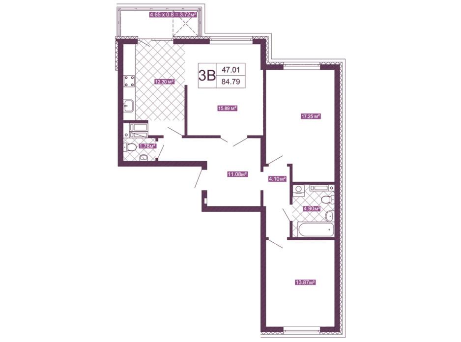 Планировка 3-комнатной квартиры в ЖК Голосеевский 84.79 м², фото 152257