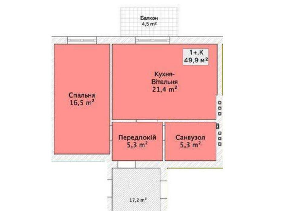 Планировка 1-комнатной квартиры в Таунхаус ул. Шевченка/переулок Сквозной 49.99 м², фото 152377