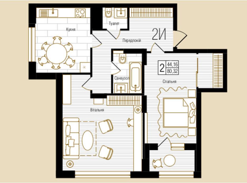 ЖК NEW YORK Concept House планировка 45