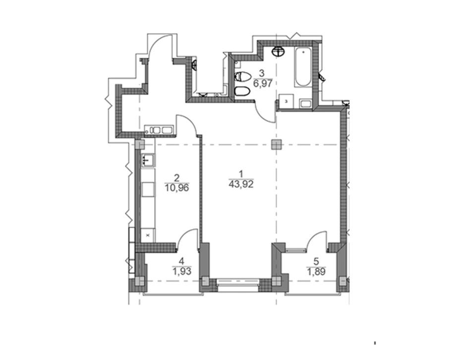 Планування 2-кімнатної квартири в ЖК iQ-House 65.54 м², фото 154244