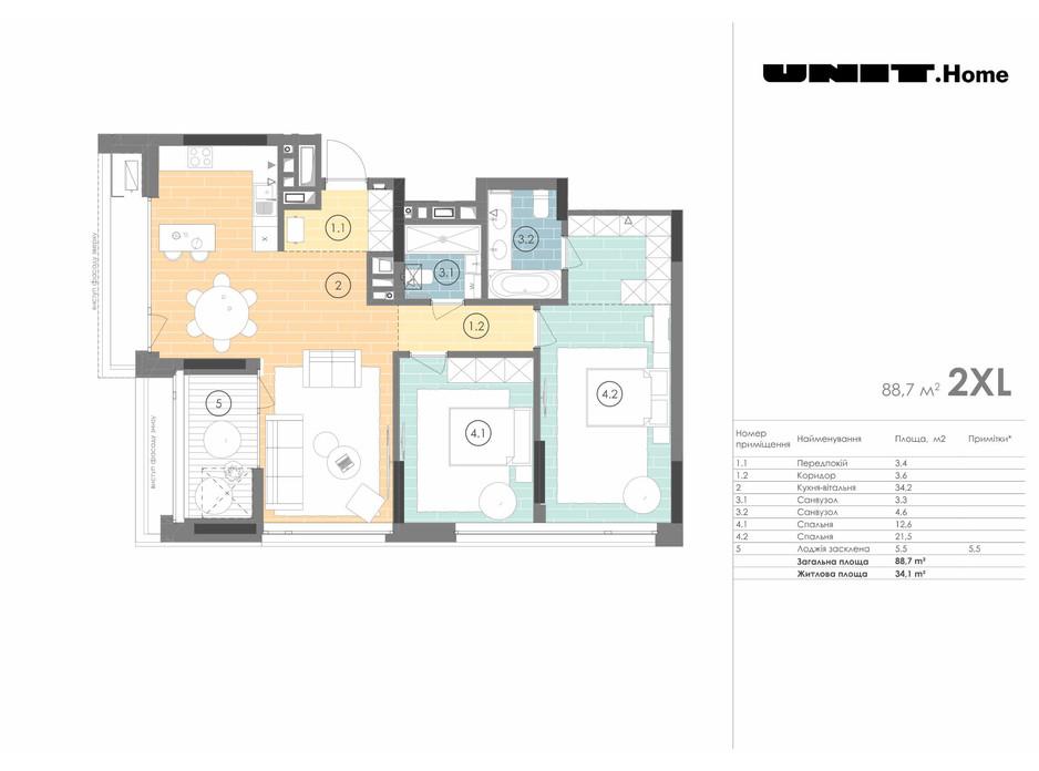 Планування 2-кімнатної квартири в ЖК Unit.Home 88.7 м², фото 155123