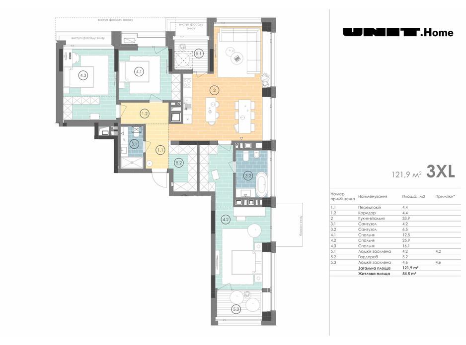 Планування 3-кімнатної квартири в ЖК Unit.Home 121.9 м², фото 155128