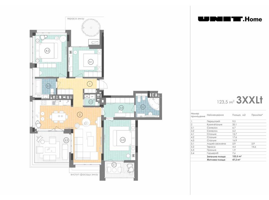 Планировка 3-комнатной квартиры в ЖК Unit.Home 123.5 м², фото 155130