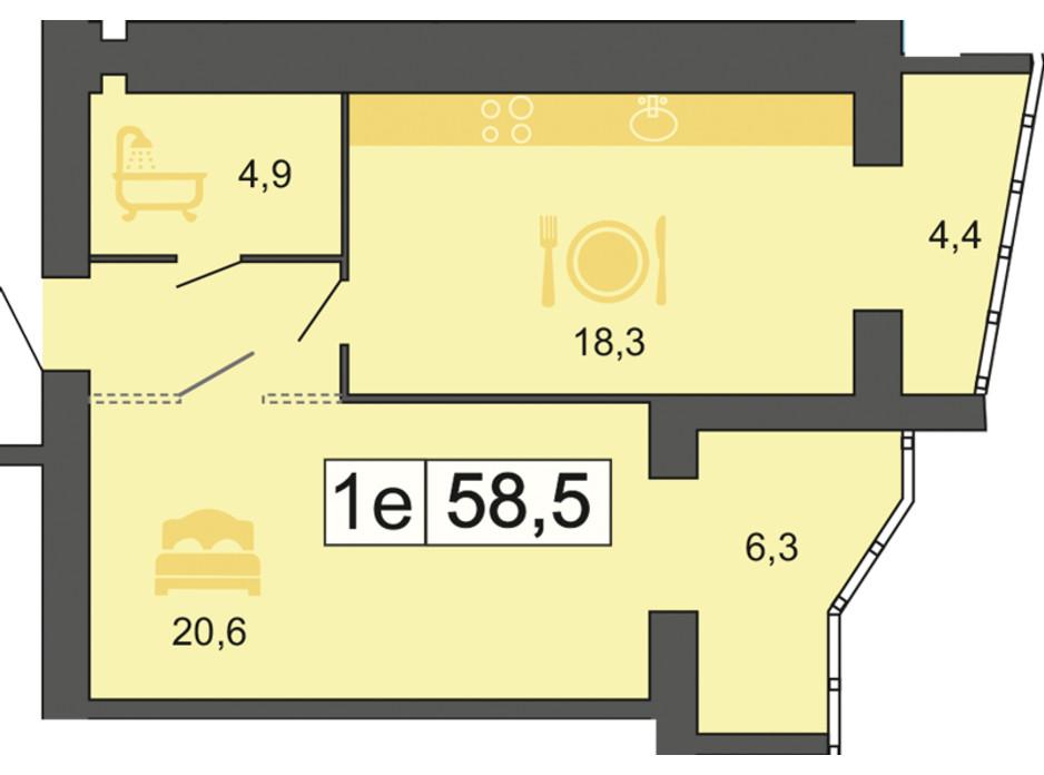 Планировка 1-комнатной квартиры в ЖК River Park (Ривер Парк) 59.1 м², фото 155339