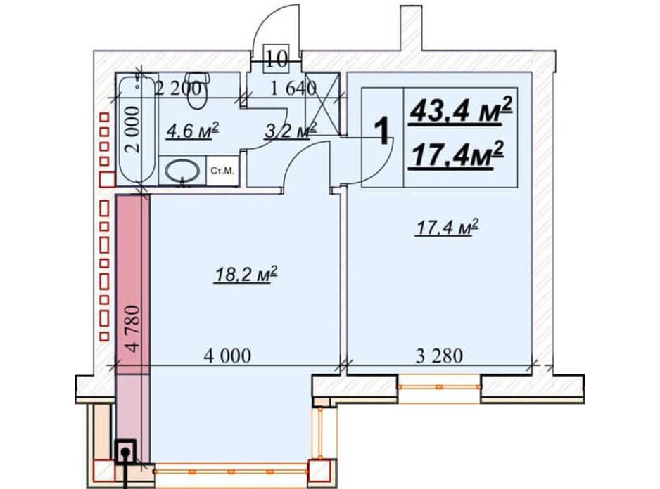 Планування 1-кімнатної квартири в ЖК Європейський 43.4 м², фото 156433