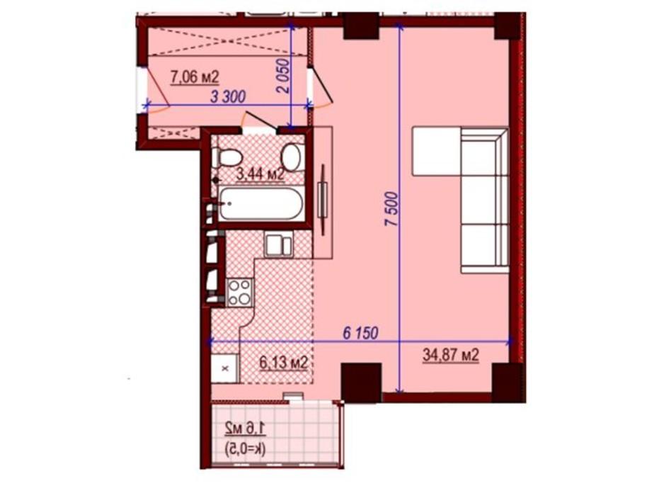 Планировка 1-комнатной квартиры в ЖК Баку 47 м², фото 156742