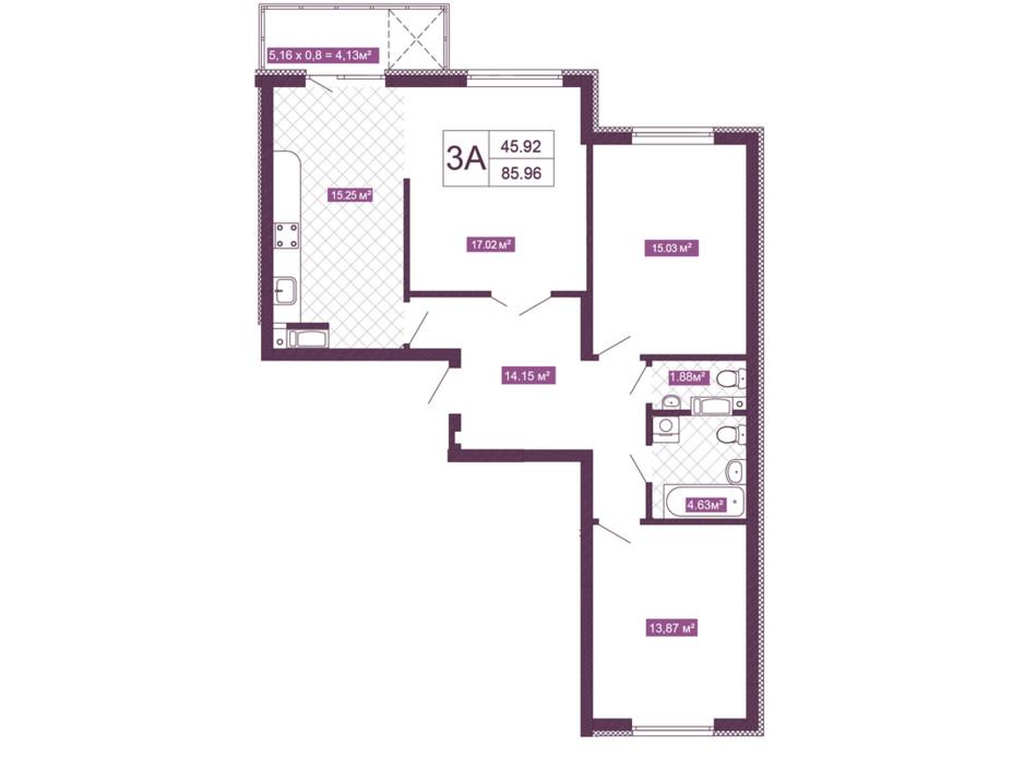 Планировка 3-комнатной квартиры в ЖК Голосеевский 85.96 м², фото 156748