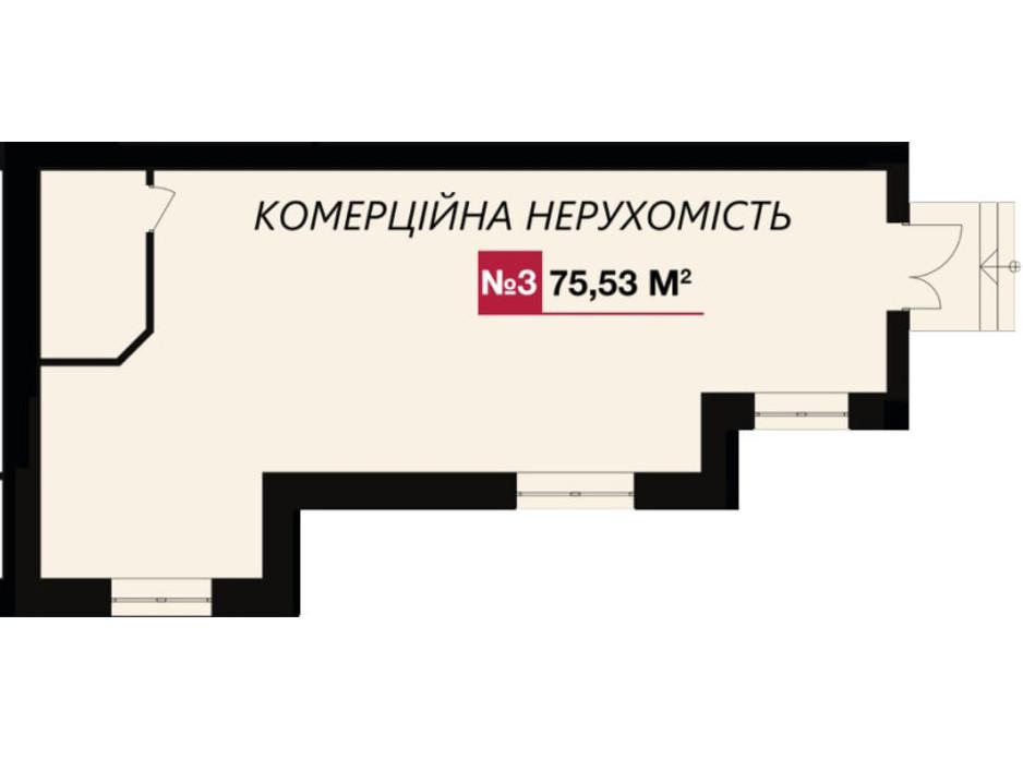 Планировка помещения в ЖК Злагода 75.53 м², фото 156896