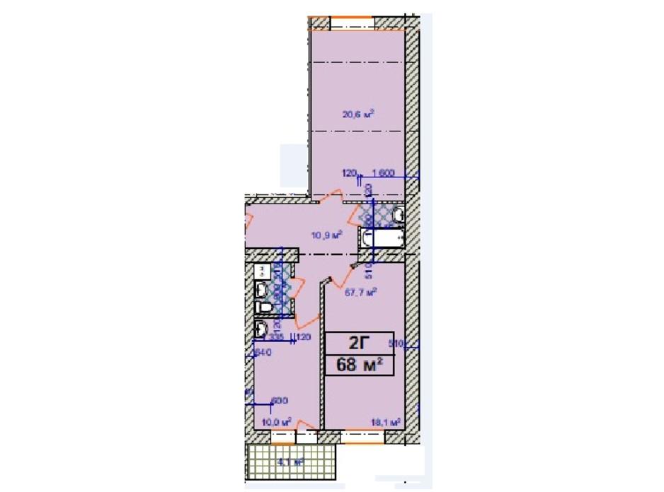 Планировка 2-комнатной квартиры в ЖК Авиатор 68 м², фото 157014
