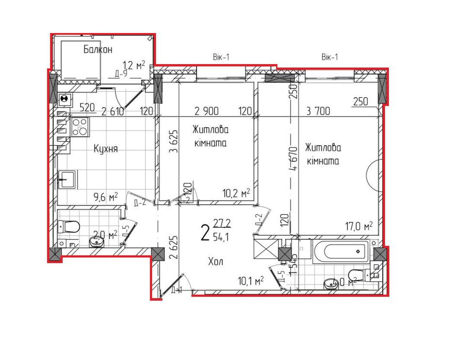 Планировка 2-комнатной квартиры в ЖК Centr 56 м², фото 157469