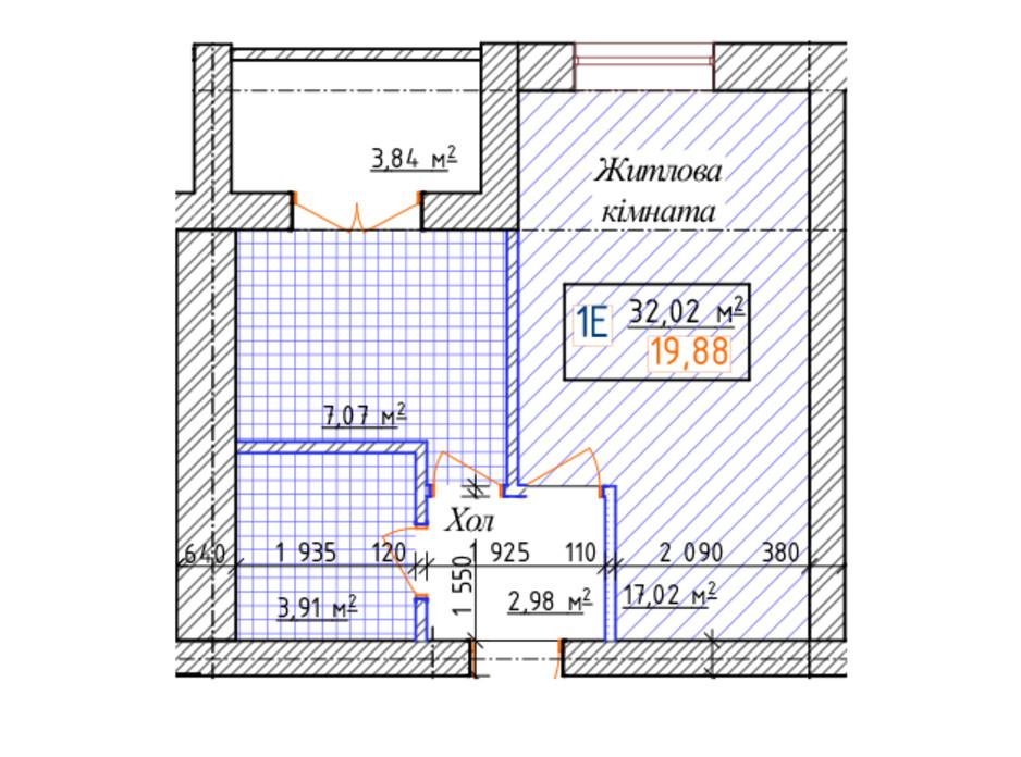Планування 1-кімнатної квартири в ЖК Озерки 32.02 м², фото 157929