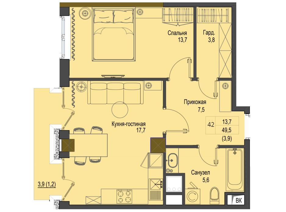 Планування 1-кімнатної квартири в ЖК Перший Французький 49.5 м², фото 158067