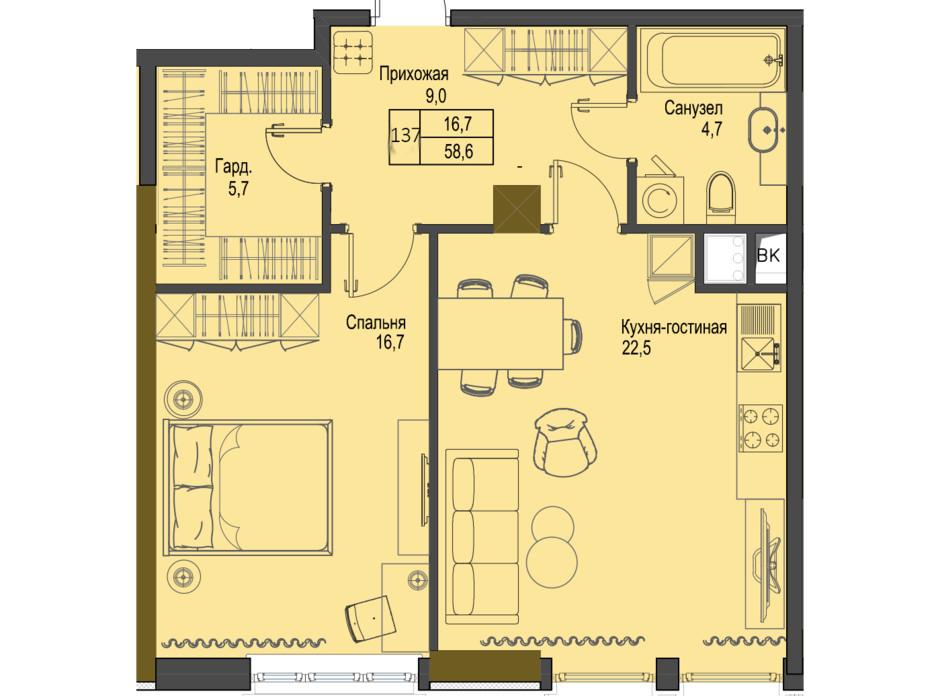 Планировка 1-комнатной квартиры в ЖК Первый Французский 58.6 м², фото 158068