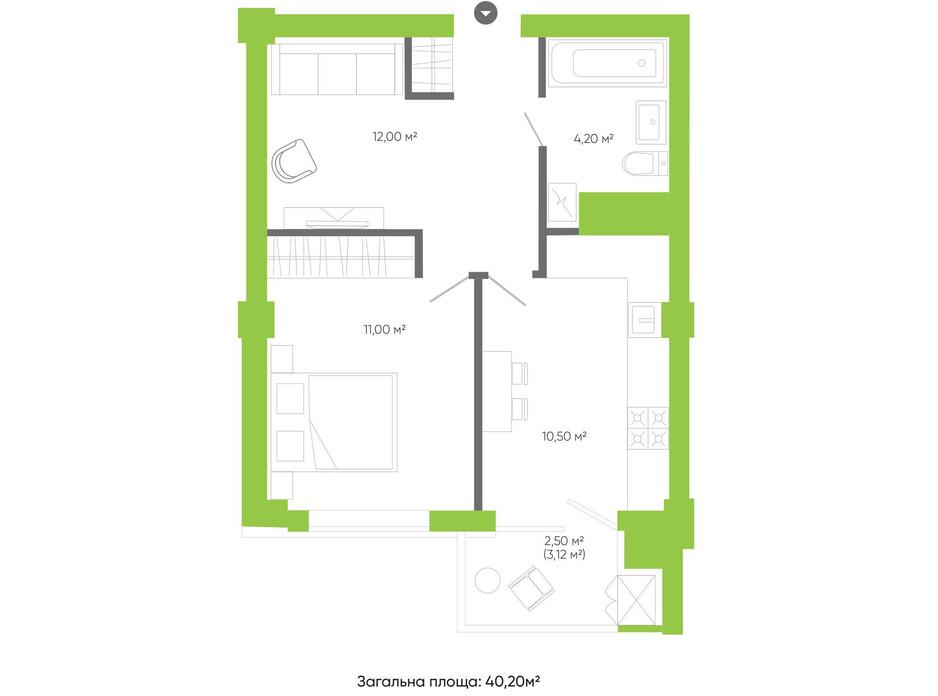 Планування 1-кімнатної квартири в ЖК Оселя парк 40.2 м², фото 158230