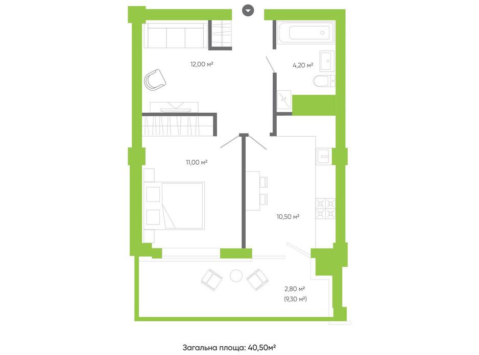 Планування 1-кімнатної квартири в ЖК Оселя парк 40.5 м², фото 158231
