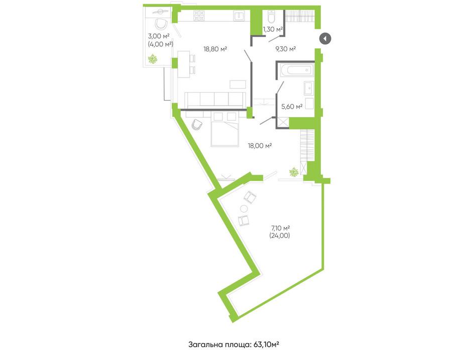 Планування 2-кімнатної квартири в ЖК Оселя парк 63.1 м², фото 158239