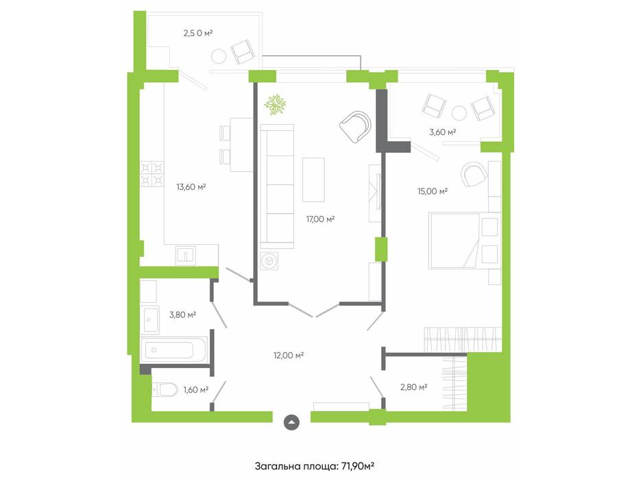 Планировка 2-комнатной квартиры в ЖК Оселя парк 71.9 м², фото 158241
