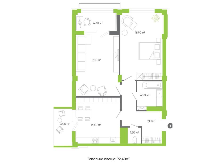 Планування 2-кімнатної квартири в ЖК Оселя парк 72.4 м², фото 158242