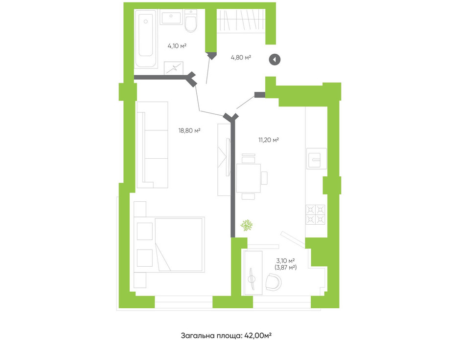 Планування 1-кімнатної квартири в ЖК Оселя парк 42 м², фото 158287