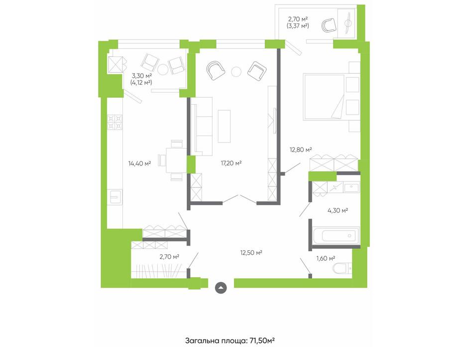 Планировка 2-комнатной квартиры в ЖК Оселя парк 71.5 м², фото 158290