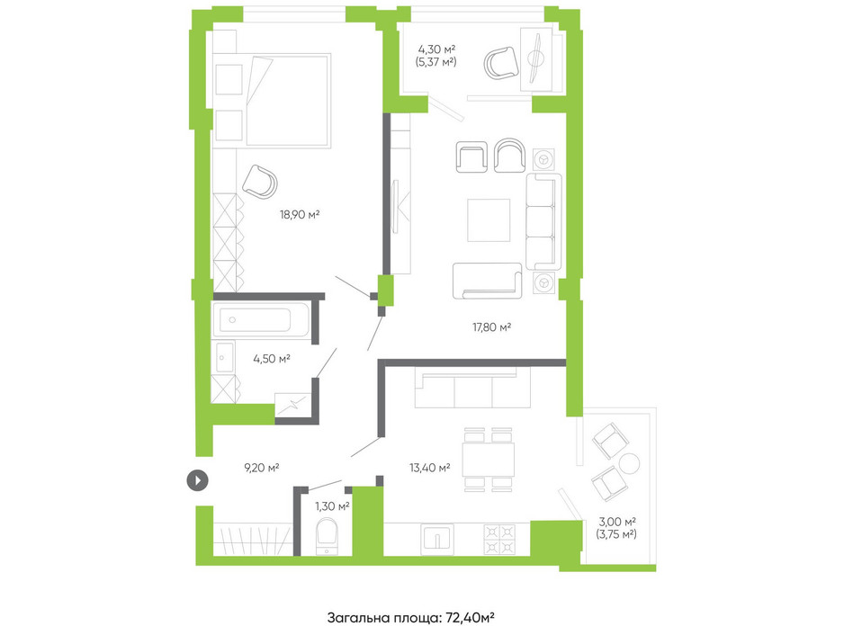 Планування 2-кімнатної квартири в ЖК Оселя парк 72.4 м², фото 158291