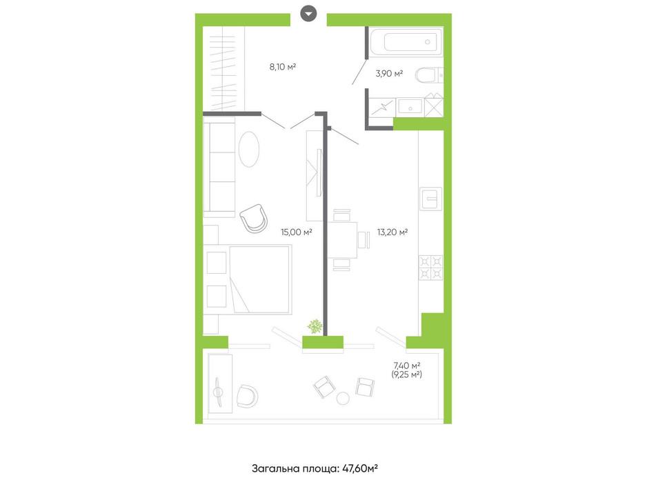 Планування 2-кімнатної квартири в ЖК Оселя парк 74.6 м², фото 158329