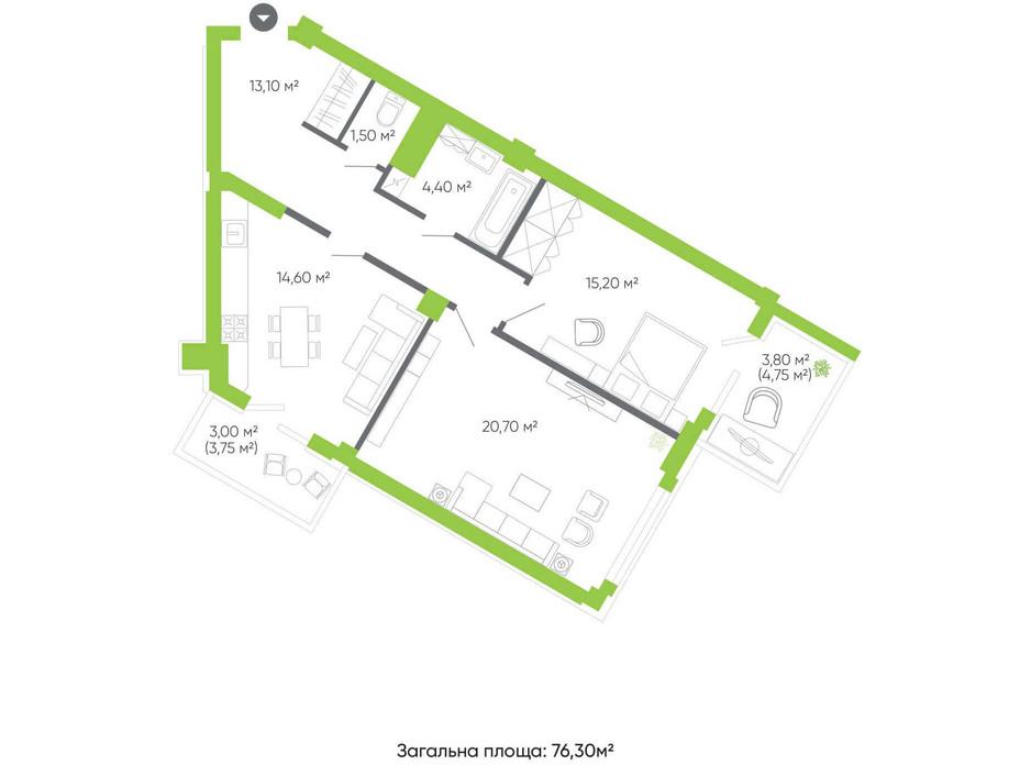 Планування 2-кімнатної квартири в ЖК Оселя парк 76.3 м², фото 158339