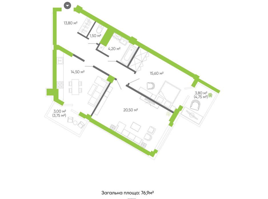 Планування 2-кімнатної квартири в ЖК Оселя парк 76.9 м², фото 158341