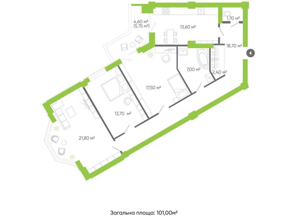 Планування 3-кімнатної квартири в ЖК Оселя парк 101 м², фото 158344