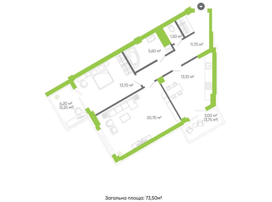 Планування 2-кімнатної квартири в ЖК Оселя парк 73.5 м², фото 158349