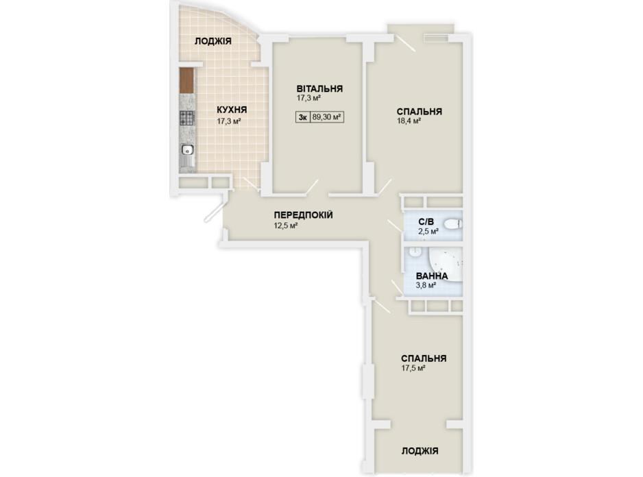 Планировка 3-комнатной квартиры в ЖК Lystopad 89.3 м², фото 158987