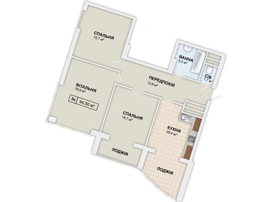 Планировка 3-комнатной квартиры в ЖК Lystopad 94.5 м², фото 158988