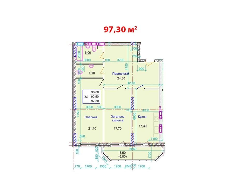 Планировка 2-комнатной квартиры в ЖК ул. Пилипа Орлика, 26 97.3 м², фото 159252