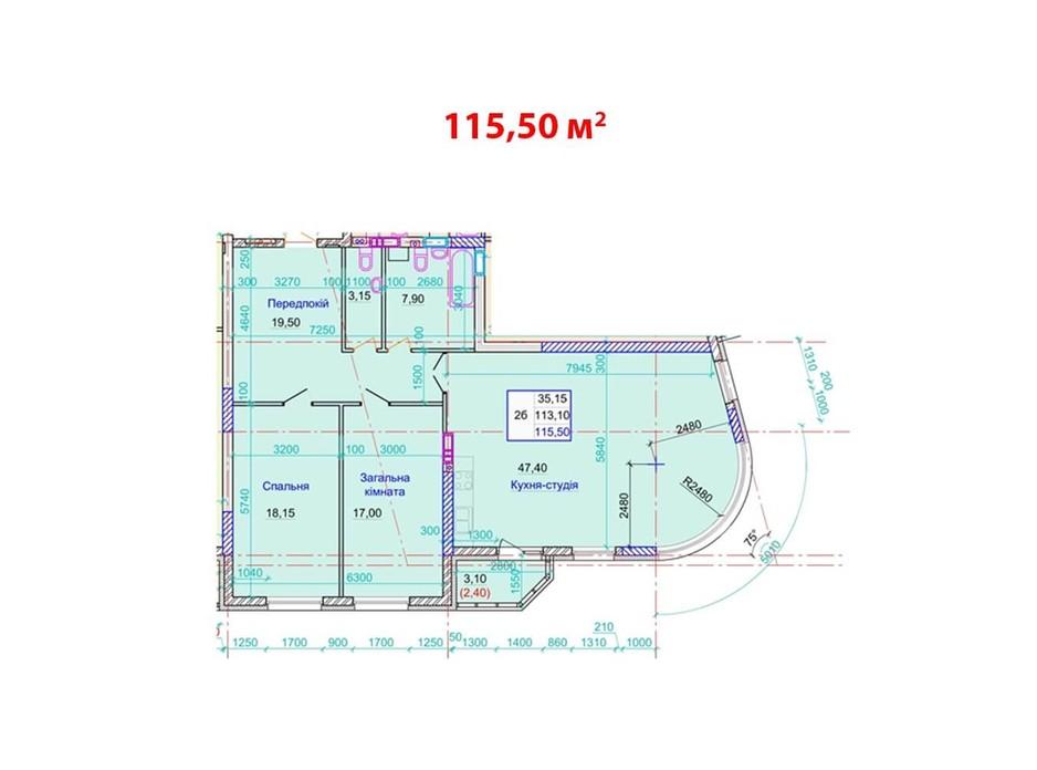 Планировка 2-комнатной квартиры в ЖК ул. Пилипа Орлика, 26 115.5 м², фото 159255