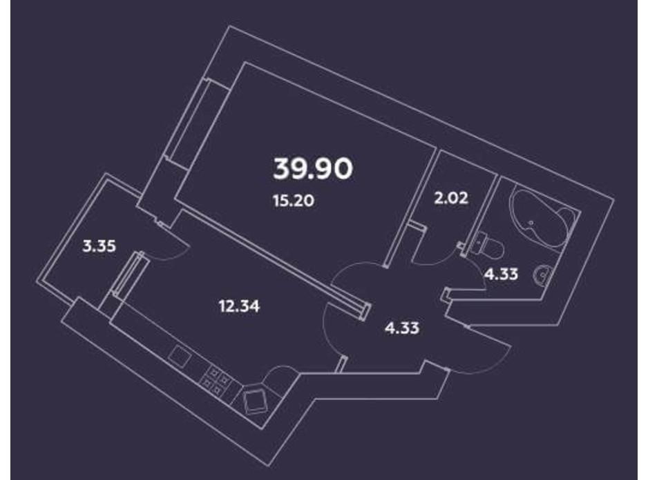Планування 1-кімнатної квартири в ЖК Уютний квартал 39.9 м², фото 159498