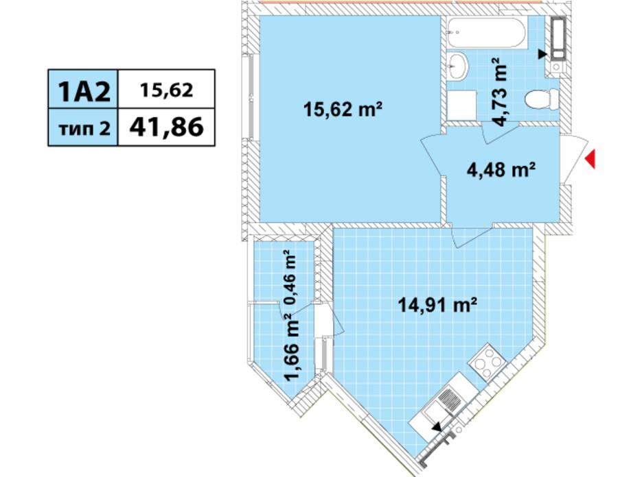 Планировка 1-комнатной квартиры в ЖК Сырецкие Сады 41.86 м², фото 159553