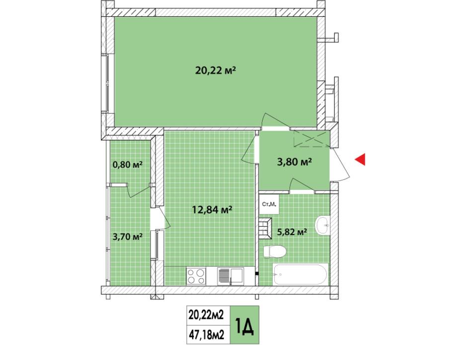Планировка 1-комнатной квартиры в ЖК Сырецкие Сады 48.04 м², фото 159556